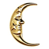 JUDY SMITTE  signed Man on the Moon Goldtone Brooch