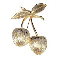 SARAH COVENTRY signed  Cherries Goldtone Pin Brooch