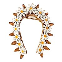 Horseshoe Goldtone Brooch with Pretty Enameled Daisies
