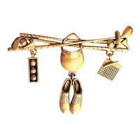 DANECRAFT  signed Golf Goldtone Brooch with Dangling Charms