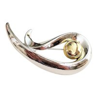 DANECRAFT  signed Swirl Design Silvertone Brooch with Goldtone Center