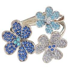 Hinged Blue Rhinestone Flowers Silvertone Bracelet