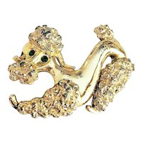 GERRY'S signed Playing Poodle Goldtone Pin Brooch with Pretty Green Rhinestone Eyes