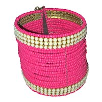 Wide Bight Pink Glass Beaded Cuff Bracelet with White Glass Bead Accents