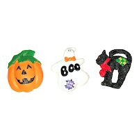 BUTTON COVERS SET of 3  Halloween Designed Resin Button Covers with Pumpkin, Ghost and Cat