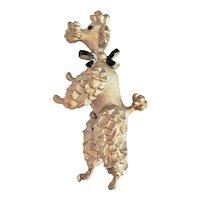 Cute Dancing Poodle Pewter Pin Brooch