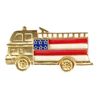 FIRETRUCK - Goldtone Firetruck Pin Brooch with The American Flag Enameled on the Side