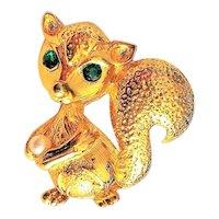 Cute Squirrel Goldtone Pin Brooch with Pretty Green Rhinestone Eyes
