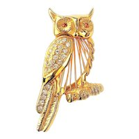 OWL Goldtone Pin Brooch  with Pretty Clear and Amber Color Rhinestones
