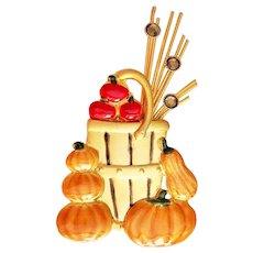KC signed Fall Apple Basket Goldtone Pin Brooch with Pumpkins