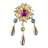 Beautiful Purple and Goldtone Flower Pin Brooch with Tear Drop Dangles