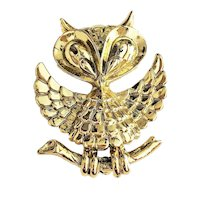 AJC signed Cute Owl Goldtone Pin Brooch