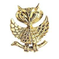 AJC signed Cute Owl Goldtone Pin Brooch