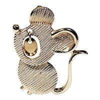 SARAH COVENTRY - Mouse Goldtone Pin Brooch with Moving Eyes