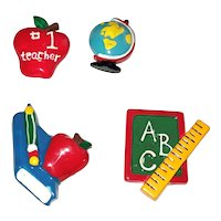 BUTTON COVERS SET of 4 Cute School Button Covers with Apple , Globe , Books and Black Board