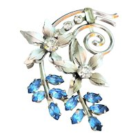 Beautiful Flower Cluster Silvertone Pin Brooch with Clear and Blue Rhinestones