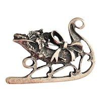 Pewter  Christmas Santa's Sleigh Pin Brooch