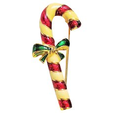 Christmas Candy Cane Goldtone , Red and White Pin Brooch with Green Bow