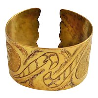 Wide Brass Etched Cuff Bracelet