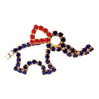 ELEPHANT- Red, White and Blue Glass Beaded Elephant Pin Brooch