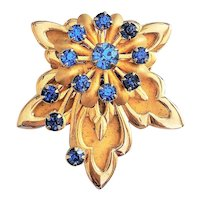 FLOWER Goldtone with Leaves Pin Brooch with Pretty Sparkling Blue Rhinestones