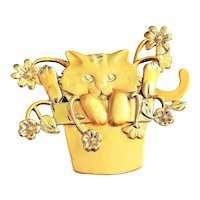AJC signed   Kitty Cat Sitting in a Flower Pot Gold Tone Brooch