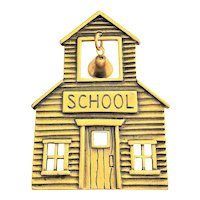 JJ signed Old Fashioned School House Brass Pin Brooch