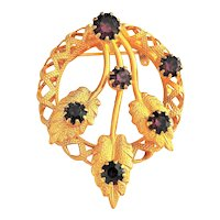 Circle of Leaves Pin Brooch with Pretty Sparkling Purple Rhinestones