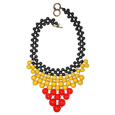 Weaved Beaded Bib Front necklace with Pretty Orange , Yellow and Gray Beads