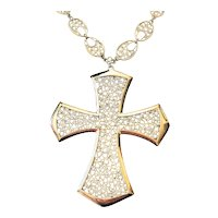 Beautiful Silvertone Cross Necklace with Pretty Lace Look Design