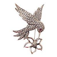 AVON signed Hummingbird with Flower Silvertone Pin Brooch with Pretty Purple Rhinestone Eye