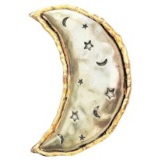 JJ signed Pewter and Goldtone Moon Pin brooch with Stars and Moon Etched Design