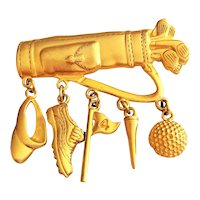 JJ signed Golf Bag Goldtone Pin Brooch with Dangling Charms