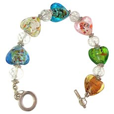 Multi Colored Foil Glass Heart Shaped Beaded Bracelet with Pretty Clear Glass Beads