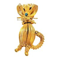 KITTY CAT -  Goldtone Wire Designed Kitty Cat Pin Brooch with Pretty Green and Red Rhinestones