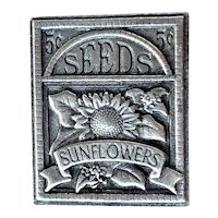 BIRDS and BLOOMS signed Pewter Sunflower Seed Pin Brooch