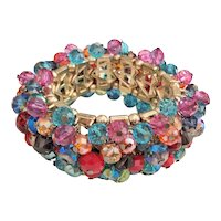 Beautiful Wide Colorful Glass and Acrylic Beaded Stretch Bracelet