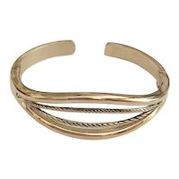 Open Designed Cuff Bracelet with Rope Designed Front