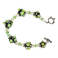 GLASS Black Beaded Bracelet  with Green and Clear Dots Bracelet