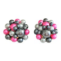HONG KONG signed Pink and Gray Faux Pearl Cluster Clip On Earrings