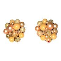 HONG KONG signed Beige Color Beaded Cluster Clip On Earrings
