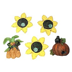 BUTTON COVERS SET of 5 - Fall Flowers, Pumpkin and Corn Resin Button Covers
