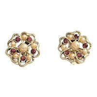 Stunning Flower Goldtone Clip On Earrings with Pretty Purple Rhinestones and Faux Pearls