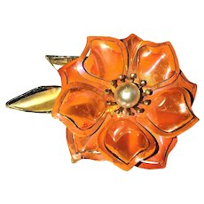 Enameled Pink and Goldtone Flower Pin Brooch with Pretty Faux Pearl Center