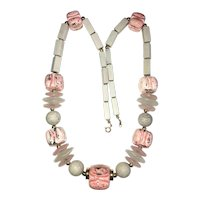 JAPAN signed Amazing Pink and Gray Ceramic and Glass Necklace