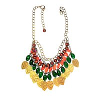 Multi Strand  Colorful Beaded and Goldtone Necklace with Brass Leaf Drops