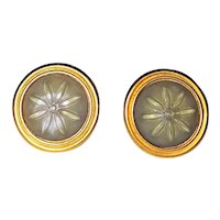 LIZ CLAIBORNE  Round Goldtone Clip-On Earrings with Pretty Color Gray Flower Centers