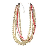 Multi Strand Cream Faux Pearl Necklace with Pretty Goldtone and Bright Orange Chains