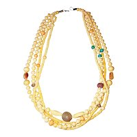 Multi Strand Carved Shell Necklace with Pretty Polished Stone Accent Beads