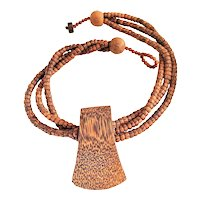 Stunning Multi Strand Wooden Necklace with Pretty Polished Wood Wedge Shaped Pendant